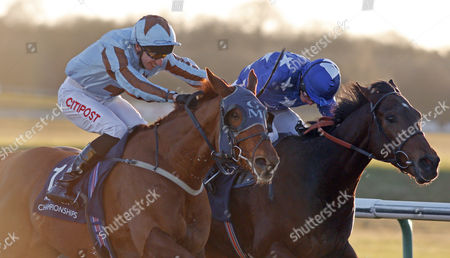 DAREBIN (left, George Baker) beats REMEMBER THE MAN (right) in The Betway Best Odds Guaranteed Plus Maiden Stakes Lingfield