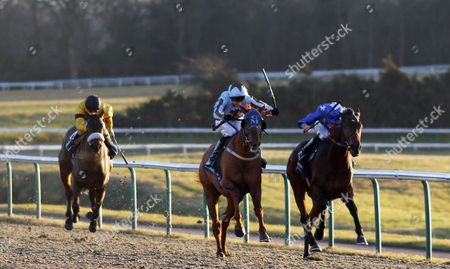 DAREBIN (centre, George Baker) beats REMEMBER THE MAN (right) in The Betway Best Odds Guaranteed Plus Maiden Stakes Lingfield