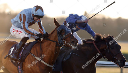 Stock Image of DAREBIN (left, George Baker) beats REMEMBER THE MAN (right) in The Betway Best Odds Guaranteed Plus Maiden Stakes Lingfield