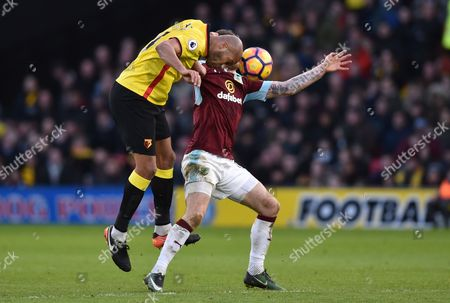 Younes Kaboul of Watford and Ashley Barnes of Burnley during the Premier League match between Watford and Burnley played at Vicarage Road, Watford on 4th February 2017