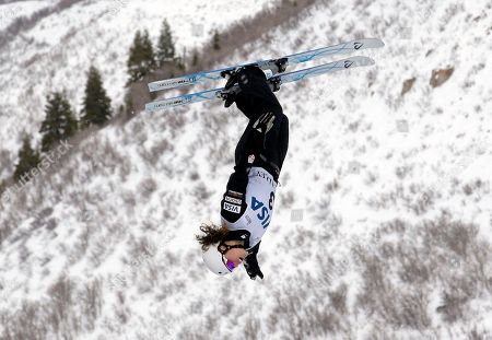Ashley Caldwell, of the United States, jumps in the women's aerials at the World Cup freestyle skiing competition at Deer Valley resort, in Park City, Utah
