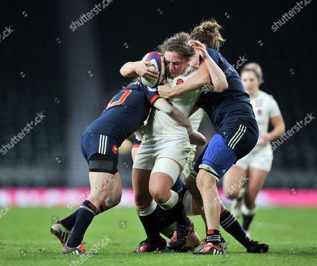 England vs France. England's Amy Cokayne
