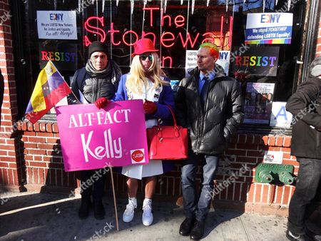 Klaus Biesenbach, Director of MoMA PS1 and and Chief Curator at Large at The Museum of Modern Art (far right) at the LGBT Solidarity Rally