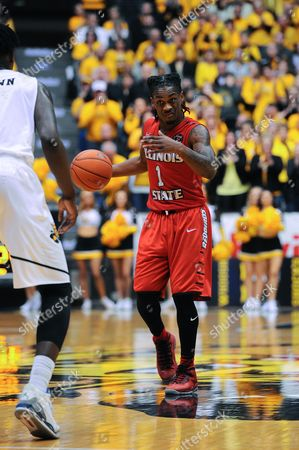 Illinois State Redbirds guard Paris Lee (1) signals to teammates in the second half during the NCAA Basketball Game between the Illinois State Redbirds and the Wichita State Shockers at Charles Koch Arena in Wichita,Kansas