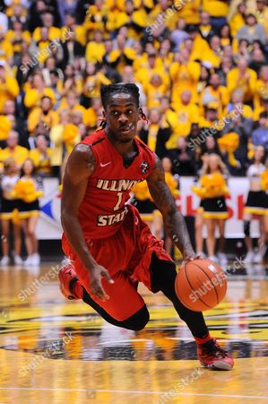 Illinois State Redbirds guard Paris Lee (1) drives to the basket during the NCAA Basketball Game between the Illinois State Redbirds and the Wichita State Shockers at Charles Koch Arena in Wichita,Kansas