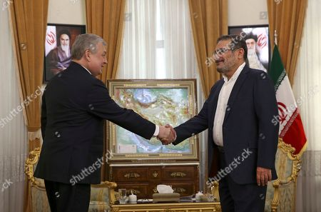 Ali Shamkhani, Alexander Lavrentiev Secretary of Iran's Supreme National Security Council Ali Shamkhani, right, welcomes Russia's special envoy on Syria Alexander Lavrentiev for their meeting at his office in Tehran, Iran
