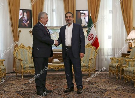 Ali Shamkhani, Alexander Lavrentiev Secretary of Iran's Supreme National Security Council Ali Shamkhani, right, welcomes Russia's special envoy on Syria Alexander Lavrentiev for their meeting, at his office in Tehran, Iran