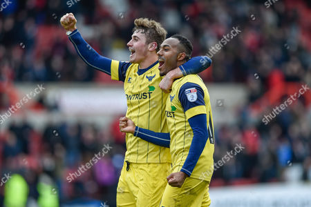 Oxford United Forward, Robert Hall (19) celebrates at the final whistle during the EFL Sky Bet League 1 match between Swindon Town and Oxford United at the County Ground, Swindon