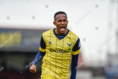 Oxford United Forward, Robert Hall (19) scores the winning goal 1-2 celebrates during the EFL Sky Bet League 1 match between Swindon Town and Oxford United at the County Ground, Swindon