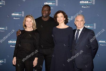 Omar Sy, Nicole Garcia, Minister Audrey Azoulay and President of Academie des Cesars Alain Terzian