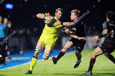 Stock Picture of Tom Croft of Leicester Tigers takes on the Saracens defence