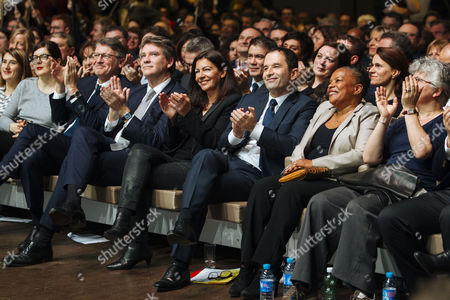 Stock Picture of Vincent Peillon, Arnaud Montebourg, Mayor of Paris Anne Hidalgo, french socialist candidate for presidential election Benoit Hamon and french former justice minister Christiane Taubira