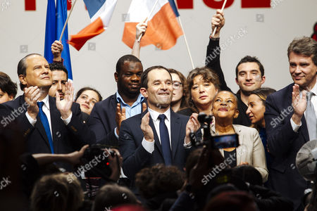 Stock Image of Jean-Christophe Cambadelis, French former education minister Vincent Peillon, french former economy minister Arnaud Montebourg, mayor of Paris Anne Hidalgo, french socialist candidate for presidential election Benoit Hamon and french former justice minister Christiane Taubira