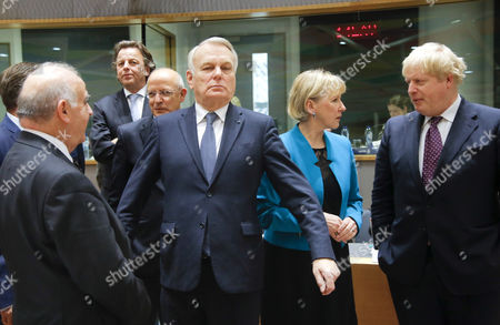 (L-R) Malta's Foreign Minister George Vella, Dutch Foreign Minister Bert Koender, Portuguese Foreign Affairs Minister Augusto Santos Silva, French Minister for Foreign Affairs Jean-Marc Ayrault, Swedish Foreign minister Margot Wallstrom and British Foreign Secretary Boris Johnson, meet at the start of the European Foreign Affairs Council, in Brussels, Belgium, 06 February 2017.