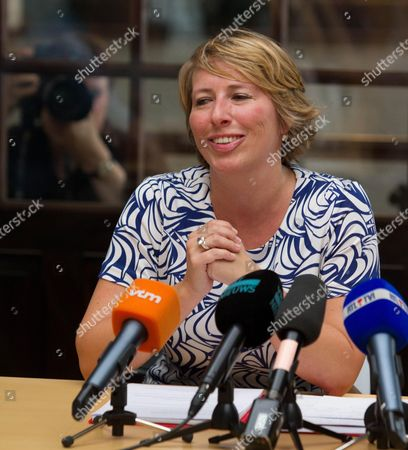 Chairwoman of the Flemish 'Socialist Party Different' (sp A) Caroline Gennez Pictured at a Press Conference of Sp a at the 'Halles Des Tanneurs' in Brussels Belgium 27 June 2011 Gennez Announced That She Will not Be Candidate For the Party's Upcoming Chairman Elections Belgium Brussels