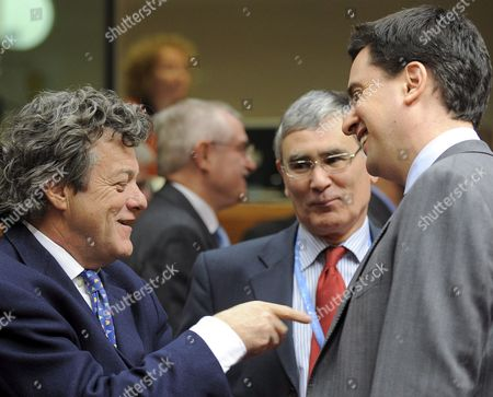 (l-r) French Environment Minister Jean-louis Borloo and British Secretary of State For Energy and Climate Change Edward Miliband Pictured at the Beginning of an Extraordinary Environment Council Over the Gas Crisis Between Russia and Ukrainia at the Eu Building in Brussels Belgium on 12 January 2009 Belgium Brussels