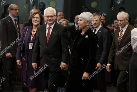 Croatia's President Ivo Josipovic (c-l) and Croatia's Prime Minister Jadranka Kosor (c-r) Arrive For a Meeting to Sign the Accession Treaty For Croatia to Join the European Union at the Eu Headquarters in Brussels Belgium 09 December 2011 Croatia and European Union Member States Signed the Treaty That Will Pave the Way For the Balkan Country to Become the Bloc's 28th Member on 01 July 2013 Belgium Brussels