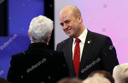 Stock Picture of Croatia's Prime Minister Jadranka Kosor (l) and Sweden Prime Minister Frederik Reinfeldt (r) Pictured During a Meeting to Sign the Accession Treaty For Croatia to Join the European Union at the Eu Headquarters in Brussels Belgium 09 December 2011 Croatia and European Union Member States Signed the Treaty That Will Pave the Way For the Balkan Country to Become the Bloc's 28th Member on 01 July 2013 Belgium Brussels