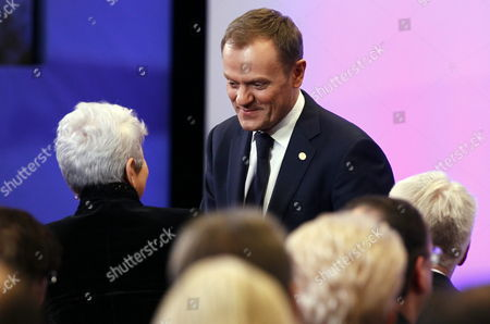 Croatia's Prime Minister Jadranka Kosor (l) and Poland's Prime Minister Donald Tusk (r) Pictured During a Meeting to Sign the Accession Treaty For Croatia to Join the European Union at the Eu Headquarters in Brussels Belgium 09 December 2011 Croatia and European Union Member States Signed the Treaty That Will Pave the Way For the Balkan Country to Become the Bloc's 28th Member on 01 July 2013 Belgium Brussels