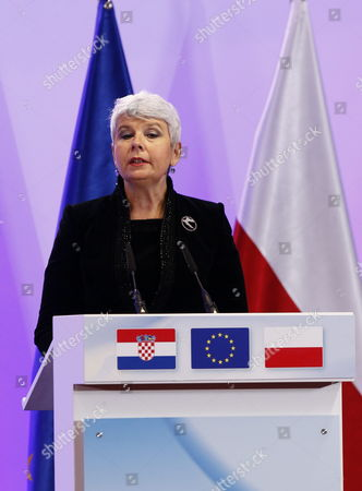 Croatia's Prime Minister Jadranka Kosor Delivers a Speech at a Meeting to Sign the Accession Treaty For Croatia to Join the European Union at the Eu Headquarters in Brussels Belgium 09 December 2011 Croatia and European Union Member States Signed the Treaty That Will Pave the Way For the Balkan Country to Become the Bloc's 28th Member on 01 July 2013 Belgium Brussels