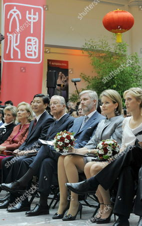 L-r Princess Astrid Queen Paola Vice-president of China Popular Republic Xi Jinping King Albert Ii Prince Philippe Princess Mathilde and Princess Maria-laura (oldest Daughter of Astrid) Pictured at the Exhibition 'Son of the Sky' at the Official Opening of Europalia China at Brussels Center For Fine Arts Belgium 08 October 2009 Belgium Brussels