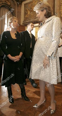 Chairwoman Af the Belgian Socialist Party-different (sp A) Caroline Gennez (l) Talks to Princess Mathilde of Belgium (r) During the Annual New Year Reception at the Royal Palace in Brussels Belgium 30 January 2008 Belgium Brussels