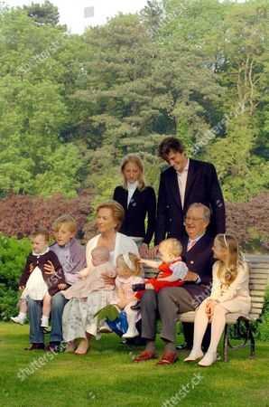 Queen Paola and King Albert Ii Pose with Their Grandchildren During a Photo Session of the Belgian Royal Family at the Palace of Laken - Laeken Brussels Tuesday 18 May 2004 on the Occasion of the King's 70th Birthday on 06 June 2004 (front L-r) Princess Laetitia-maria Prince Joachim Princess Louise Princess Elisabeth Prince Gabriel and Princess Louisa-maria (back L-r) Princess Maria-laura and Prince Amedeo Belgium Brussels