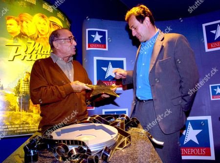 French Actor Claude Brasseur (l) and Film-maker Gilles Legrand (r) Receive a Star Offered by Kinepolis Group During the Presentation of His New Film 'Malabar Princess' Monday 22 March 2004 in Brussels Belgium Brussels