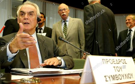 Stock Picture of Greek President of the Eu Council of Minister For Development Akis Tsochatzopoulos Pictured Prior to the Eu Transport and Energy Council Meeting Wednesday 14 May 2003 in Brussels Epa-photo/belga/etienne Ansotte Belgium Brussels
