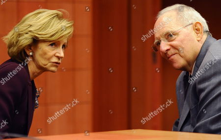 Spanish Finance Minister Elena Salgado and German Finance Minister Wolfgang Schaeuble Attend at an European Euro Zone Finance Ministers Summit at the Eu Council Headquarters in Brussels Belgium 29 November 2011 Eurozone Finance Ministers Were Meeting in Brussels on 29 November 2011 in an Effort to Find Fresh Ways to Calm Market Speculation Belgium Brussels