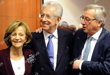 (l-r) Spanish Finance Minister Elena Salgado Italian Prime Minister Mario Monti and and Luxembourg Prime Minister and President of the Eurogroup Jean Claude Juncker Attend a European Euro Zone Finance Ministers Summit at the Eu Council Headquarters in Brussels Belgium 29 November 2011 Eurozone Finance Ministers Were Meeting in Brussels on 29 November 2011 in an Effort to Find Fresh Ways to Calm Market Speculation Belgium Brussels