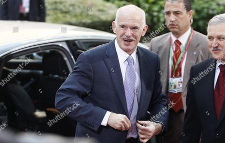 Greece Prime Minister Georgios Papandreou Arrives to the Meeting on the Second Day of the European Head of States Summit in Brussels Friday 24 June 2011 Heads of the 27 European Union States Meet in Brussels on Thursday and Friday For a European Summit with Plans For a Second Emergency Loan Package For Greece at the Top of the Agenda Belgium Brussels