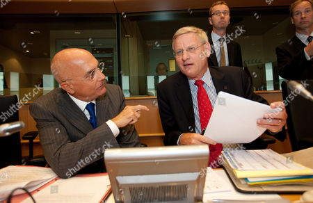 Former Mayor of Milano and Member of the European Parliament Italian Gabriele Albertini (l) and Swedish Foreign Minister Carl Bildt (r) Are Pictured During a Briefing with Foreign Affairs Committee on the Foreign and Security Policy Priorities of the New Council Presidency at European Parliament in Brussels Belgium on 21 July 2009 Belgium Brussels