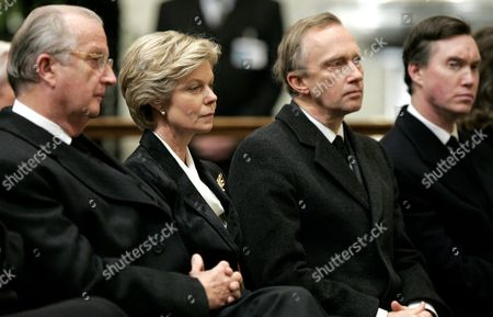 (l-r) Belgium's King Albert Ii Princess Marie-astrid of Luxembourg Archduke Charles-christian of Austria and Prince Guillaume of Luxembourg Attend the Mass to Commemorate Grand Duchess Josephine-charlotte of Luxembourg Tuesday 18 January 2005 at the Sint-goedele / Saint-gudule Cathedral in Brussels Belgium Brussels