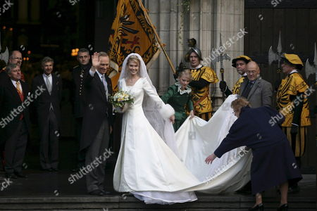 Archduchess Marie Christine of Austria (r) and Her Father Archduke Christian of Austria (l) Stand on the Steps of the 'Sint-romboutskathedraal' (st Rumbolds Cathedral) Before Her Wedding to Count Rodolphe of Limburg Stirum (not Pictured) in Mechelen Belgium 06 December 2008 Belgium Mechelen