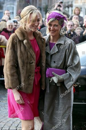 Princess Maria-laura and Princess Astrid of Belgium Arrive at the Mechelen City Hall For the Wedding of Archduchess Maria Christina of Austria and Count Rodolphe of Limburg Stirum in Mechelen Belgium 06 December 2008 Belgium Mechelen