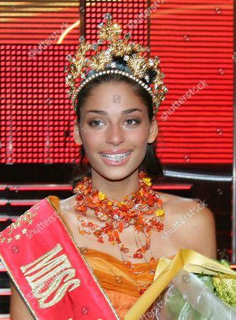 Newly Crowded Miss Belgium 2005 Tatiana Silva Braga Tavares of Cap Verde Origin Speaking Five Languages Celebrates Sunday 19 December 2005 in Oostende Casino During Miss Belgium 2005 Election Belgium Oostende