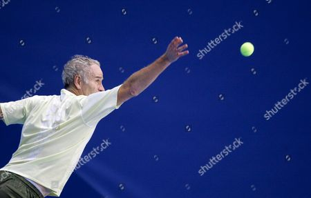 Tennis Legend Us John Mcenroe Plays His Third Game Vs Bjorn Borg of Sweden 10 Novembre 2007 at the First Edition of the Legend Cup in Liege Stage of the Atp Senior Tour Mcenroe Won 7-5 3-6 and 10-6 in a Tie-break He Qualified For the Final Belgium Liege