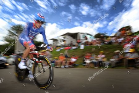 Stock Photo of Us Rider David Zabriskie of the Garmin-sharp-barracuda Team in Action During the 9th Stage of the Tour De France 2012 Cycling Race an Individual Time Trial Over 41 5km Between Arc-et-senans and Besancon France 09 July 2012 France Besancon