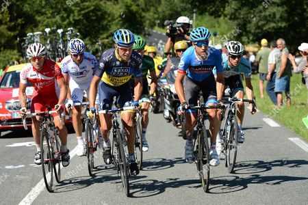 Danish Rider Nicki Sorensen (3rd L) of Team Saxo Bank-tinkoff Bank and Us Rider Christian Vande Velde (2nd R) of the Garmin-sharp-barracuda Team Lead the Breakaway Group During the 15th Stage of the Tour De France Cycling Race Over 160km From Samatan to Pau France 16 July 2012 France Pau