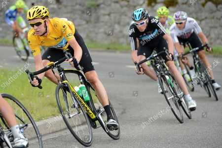 (l-r) British Bradley Wiggins of Sky Procycling Team British Christopher Froome of Sky Procycling Team and Norvegian Edvald Boasson Hagen of Sky Procycling Team in Action During the 17th Stage of the Tour De France 2012 Cycling Race Between Bagneres-de-luchon and Peyragudes France 19 July 2012 Valverde Won the Stage France Peyragudes