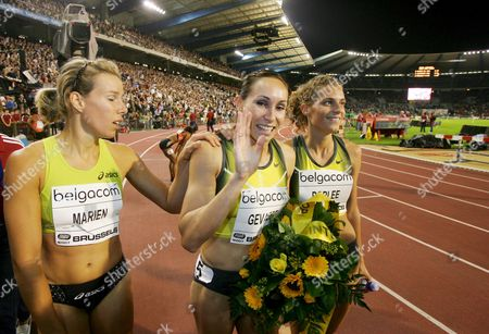 Kim Gevaert (c) of Belgium Celebrates After She Won the Womens 200m Event with Hanna Marien (l) and Olivia Borlee (r) at the Golden League Meeting Memorial Van Damme in Brussels 14 September 2007 Belgium Brussels