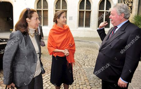 Stock Picture of Colombian Former Presidential Candidate and Former Colombian Farc Guerrilla Hostage French - Comombian Ingrid Betancourt and Her Mother Yolanda Pulecio (l) Are Welcomed by Brussels Mayor Freddy Thielemans at Brussels City Hall Belgiumduring a Visit 09 October 2008 Betancourt was Freed in July 2008 After Being Held in Captivity by Farc (revolutionary Armed Forces of Colombia) For More Than Six Years She Attends Several Ceremony in Belgium Since Yesterday the Support Committee Movement Started in Belgium Belgium Brussels