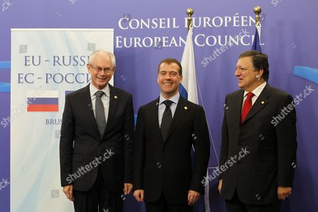 From L-r European Council President Herman Van Rompuy Russia's President Dimitry Medvedev and Commission Chairman Jose Manuel Barroso Pictured at the Start of the Eu-russia Summit at the European Union Council Headquarters in Brussels 15 December 2011 Russian President Dmitry Medvedev Met with Leading Eu Officials For a Bilateral Summit Expected to Be Overshadowed by Opposition Claims That Recent Parliamentary Elections Had Been Rigged Belgium Brussels