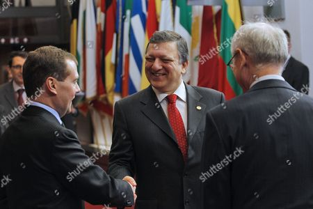 From L-r Russia's President Dimitry Medvedev Eu Commission Chairman Jose Manuel Barroso and European Council President Herman Van Rompuy and Pictured at the Start of the Eu-russia Summit at the European Union Council Headquarters in Brussels 15 December 2011 Russian President Dmitry Medvedev Met with Leading Eu Officials For a Bilateral Summit Expected to Be Overshadowed by Opposition Claims That Recent Parliamentary Elections Had Been Rigged Belgium Brussels