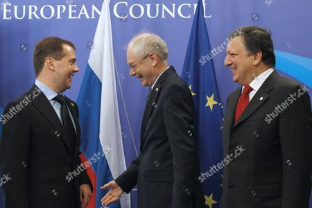 From L-r Russia's President Dimitry Medvedev European Council President Herman Van Rompuy and Eu Commission Chairman Jose Manuel Barroso Pictured at the Start of the Eu-russia Summit at the European Union Council Headquarters in Brussels 15 December 2011 Russian President Dmitry Medvedev Met with Leading Eu Officials For a Bilateral Summit Expected to Be Overshadowed by Opposition Claims That Recent Parliamentary Elections Had Been Rigged Belgium Brussels