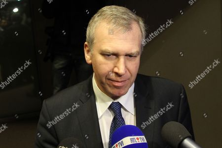 Outgoing Prime Minister Yves Leterme Talks to the Press After a Press Conference After a Ministers Council Meeting of the Federal Government in Brussels Monday 28 November 2011 Belgium Brussels