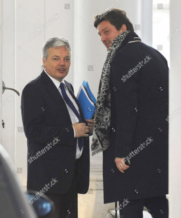 Royal 'Mediator' Didier Reynders (l) Talks with His Spokesman David Marechal (r) Ahead of a Meeting with Sp a ('different Socialist Party') Chairwoman Caroline Gennez in Brussels Belgium 21 February 2011 Reynders' Mission As Royal Mediator Has Been Prolonged by King Albert on 17 February Belgium Set a New World Record As the Country Without a Functioning Government For the Longest Period It Has Been 253 Days Since the Inconclusive General Elections of June 2010 Belgium Brussels