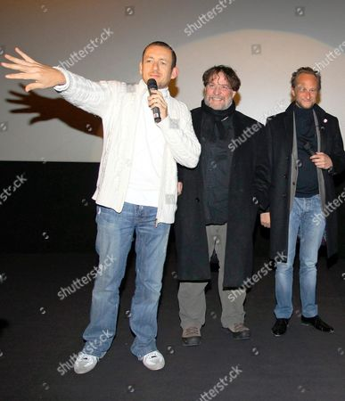 French Screenplay Writer and Director Dany Boon (l) Belgian Actor Bouli Lanners (2nd L) and Belgian Actor Benoit Poelvoorde (c) Pictured During the Presentation of the French Comedy 'Rien a Declarer' (nothing to Delcare) in Kinepolis in Brussels Belgium 10 January 2011 the Release of the Film in Belgium is Scheduled For 26 January 2010 Belgium Brussels