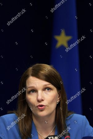 Finland's Prime Minister Mari Kiviniemi Pictured During a Press Conference After the Second Day of the European Head of States Summit in Brussels 25 March 2011 European Union Leaders Acting in the Wake of Japan's Reactor Incidents Agreed to Run 'Stress Tests' That Would Check How Nuclear Power Plants in Europe Would Withstand Earthquakes and Flooding As Well As Terrorist and Cyber Attacks As Part of Its Efforts to Help Japan Recover From a 9 0-magnitude Earthquake and Tsunami Earlier This Month the European Union Should Offer the Country a Free-trade Deal British Prime Minister David Cameron Said Belgium Brussels